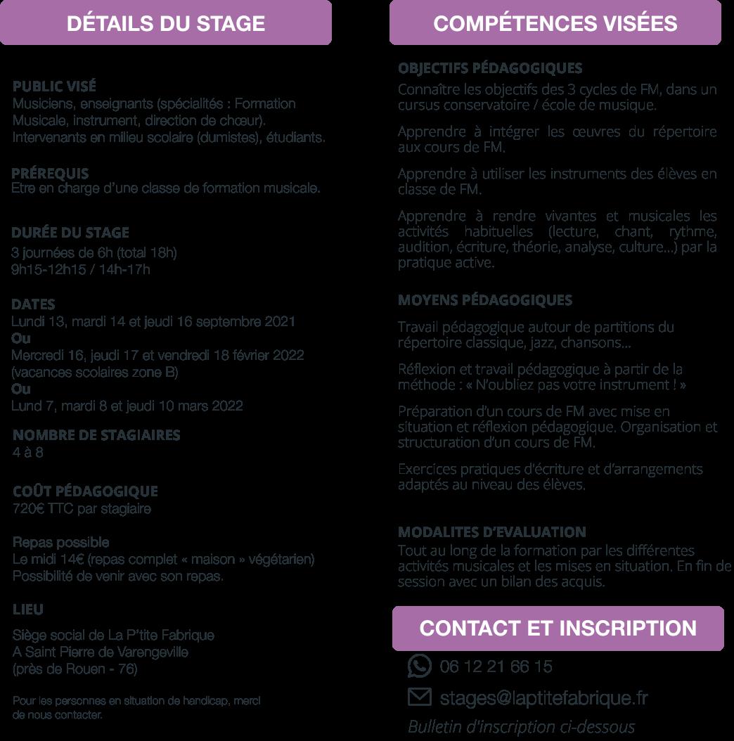 STAGE A : Pédagogie active et utilisation des instruments en classe de FM  Les outils pratiques d'une pédagogie active et vivante.