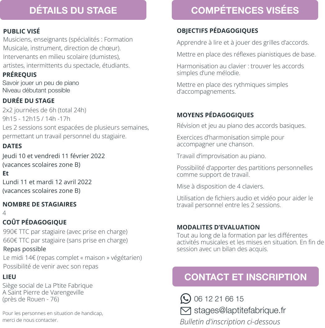 STAGE G1 : Accompagner les chansons au piano (Initiation)